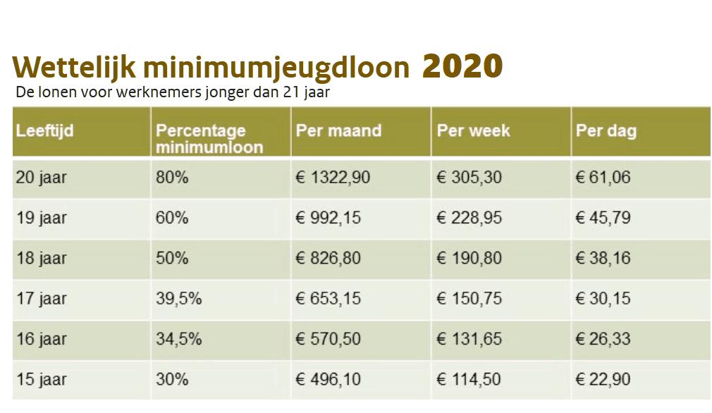 minimumjeugdloon, jeugdloon,minimaal jeugd loon,wml 2020, minimumloon 2020, het minimumloon 2020, minimum loon, wettelijk minimumloon 2020, het bruto wettelijk minimumloon 2020